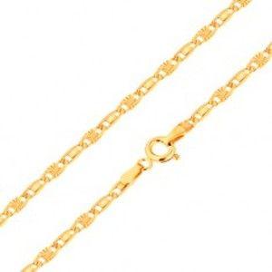 Šperky eshop - Retiazka v žltom 14K zlate, hladký a lúčovitý článok, 550 mm GG169.24