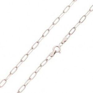 Šperky eshop - Retiazka z bieleho zlata 585 - hladké a vrúbkované väčšie oválne očká, 450 mm GG24.38