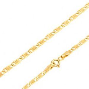 Šperky eshop - Retiazka zo žltého 14K zlata - ploché podlhovasté očká s mriežkou, 500 mm GG27.07