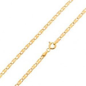 Šperky eshop - Retiazka zo žltého 14K zlata, lesklé oválne očká s hladkým obdĺžnikom, 450 mm GG24.33