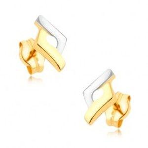 Šperky eshop - Ródiované dvojfarebné náušnice v 9K zlate - kosoštvorec, vystúpené okraje GG38.08