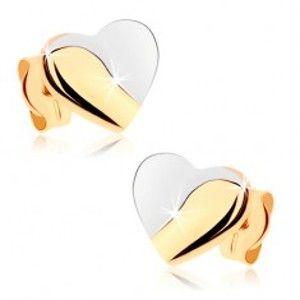 Šperky eshop - Ródiované náušnice v 9K zlate - srdcia s lesklou a matnou časťou GG80.03