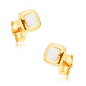 Šperky eshop - Ródiované náušnice z 9K zlata - mierne vypuklé dvojfarebné štvorce GG33.10