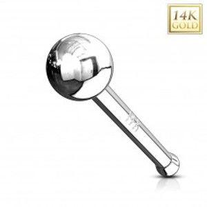 Šperky eshop - Rovný zlatý 14K piercing do nosa - lesklá hladká gulička, biele zlato GG220.16/221.01 - Hrúbka piercingu: 1 mm
