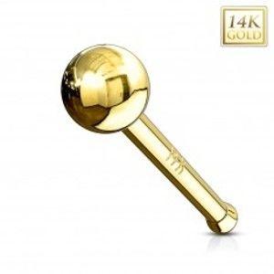 Šperky eshop - Rovný zlatý 14K piercing do nosa - lesklá hladká gulička, žlté zlato GG220.15/221.02 - Hrúbka piercingu: 1 mm