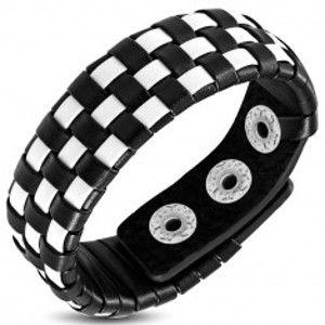 Šperky eshop - Šachovnicový kožený náramok - biele a čierne pásy U6.18