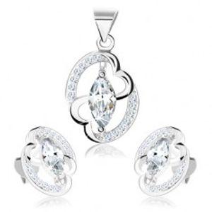Šperky eshop - Sada - striebro 925, náušnice a prívesok, obrys elipsy, prepojené srdcia SP71.20