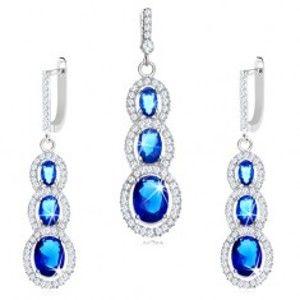 Šperky eshop - Sada náušníc a prívesku zo striebra 925 - tmavomodré zirkóny s čírym lemom V05.15