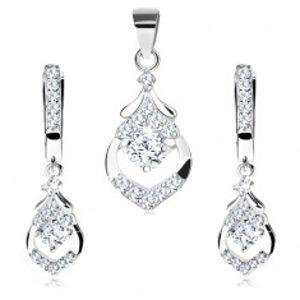 Šperky eshop - Sada zo striebra 925 - náušnice a prívesok, kvapka s výrezom, číre zirkóniky V07.10