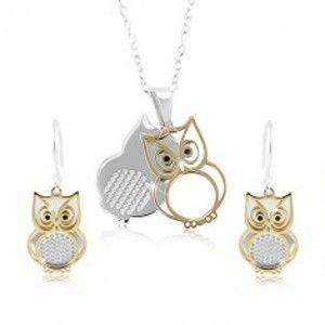 Šperky eshop - Sada zo striebra 925, dvojitá sovička v striebornej a zlatej farbe SP85.15