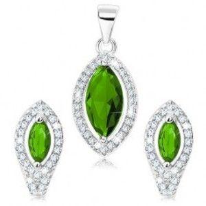 Šperky eshop - Sada zo striebra 925, prívesok a náušnice, zelené zirkónové zrnko, číra kontúra S16.28
