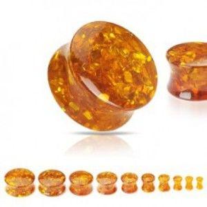 Šperky eshop - Sedlový plug zo syntetického jantáru s trblietkami C30.9 - Hrúbka: 16 mm