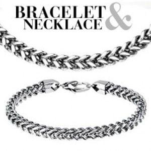 Šperky eshop - SET retiazka a náramok z ocele - dvojitá reťaz Q6.18