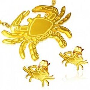 Šperky eshop - Set z ocele - puzetové náušnice a prívesok, krab zlatej farby S39.08