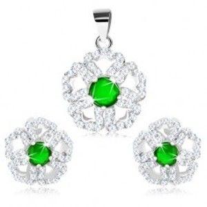 Šperky eshop - Set zo striebra 925 - prívesok a náušnice, ligotavý kvet so zeleným stredom R29.5