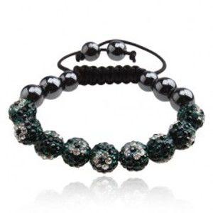Šperky eshop - Shamballa náramok, zelené zirkónové guľôčky so vzorom kvetov Q18.06