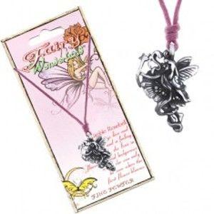 Šperky eshop - Šnúrka na krk - kovová kvetinová víla so stuhou a paličkou AC3.21