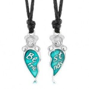 Šperky eshop - Šnúrkové náhrdelníky, modré rozpolené srdce, mackovia, nápis Best friends S57.05