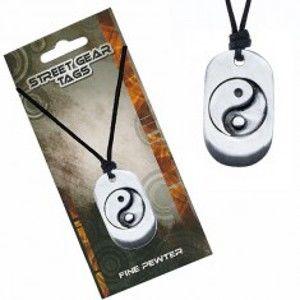 Šperky eshop - Šnúrkový náhrdelník, kovová známka so symbolom Jin Jang S3.10