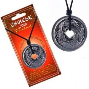 Šperky eshop - Šnúrkový náhrdelník, minca s čínskym drakom a pelikánom AA45.19