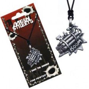 Šperky eshop - Šnúrkový náhrdelník, prívesok bomby, nápis Tick Tick Boom S2.9