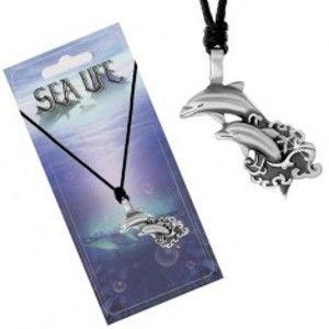Šperky eshop - Šnúrkový náhrdelník s príveskom dvoch delfínov vyskakujúcich z mora S06.20