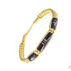 Šperky eshop - Šnúrkový náramok - pletený, žltá farba, ozdobné korálky Y53.10