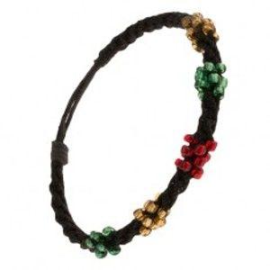 Šperky eshop - Špirálový náramok z čiernych šnúrok, korálky troch farieb Q22.01