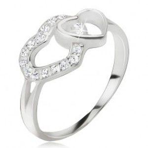 Šperky eshop - Srdiečkový prsteň, zirkónová a hladká kontúra srdca, striebro 925 J11.4 - Veľkosť: 59 mm