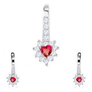 Šperky eshop - Strieborná sada 925, náušnice a prívesok, červené zirkónové srdce, číry lem SP81.11