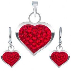 Šperky eshop - Strieborná sada 925, náušnice a prívesok, červené zirkónové srdce U5.20