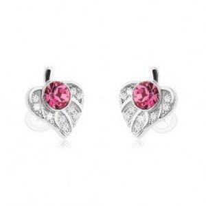 Šperky eshop - Strieborné 925 náušnice, asymetrický lístoček zdobený ružovým zirkónom SP58.11