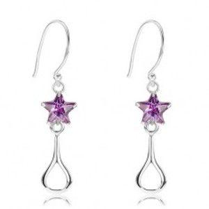 Šperky eshop - Strieborné 925 náušnice, ligotavá fialová hviezda, lesklý obrys slzy I24.20