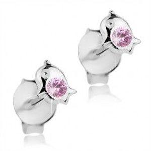 Šperky eshop - Strieborné 925 náušnice, malý lesklý delfín, svetloružový Swarovski krištáľ I37.17