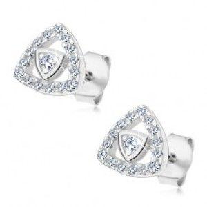 Šperky eshop - Strieborné 925 náušnice, obrys trojuholníka vykladaný zirkónikmi čírej farby G23.19