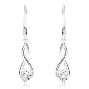 Šperky eshop - Strieborné 925 náušnice, protismerne zvlnené línie, číry zirkón, háčiky SP88.27