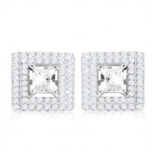 Šperky eshop - Strieborné 925 náušnice, štvorcový brúsený zirkón, dvojitý zirkónový lem SP67.22