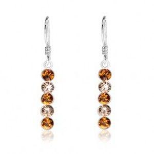 Šperky eshop - Strieborné 925 náušnice, zvislá línia z oranžových Swarovského krištáľov I28.22