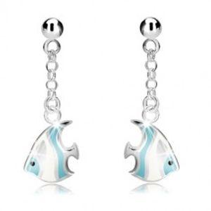 Šperky eshop - Strieborné náušnice 925 - guľôčka a bielo-modrá morská ryba na retiazke, puzetky R10.16