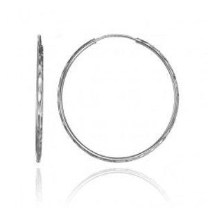 Šperky eshop - Strieborné náušnice 925 - kruhy s oválnymi zárezmi, 36 mm A24.10