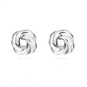 Šperky eshop - Strieborné náušnice 925 - lesklý uzol, štyri dvojice hladkých prstencov, puzetky Q23.15