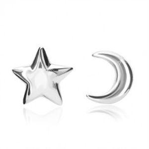 Šperky eshop - Strieborné náušnice 925 - motív mesiačika a hviezdičky, zapínanie pomocou puzetky X09.13