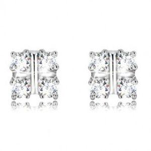 Šperky eshop - Strieborné náušnice 925 - štvorcový košíček s trblietavými zirkónmi, puzetky R11.03