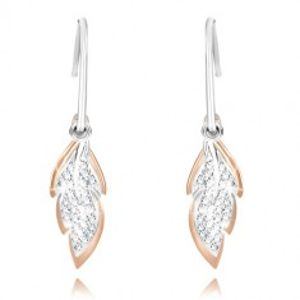 Šperky eshop - Strieborné náušnice 925 - úzky polkruh, ligotavý list, list ružovozlatej farby Q23.19