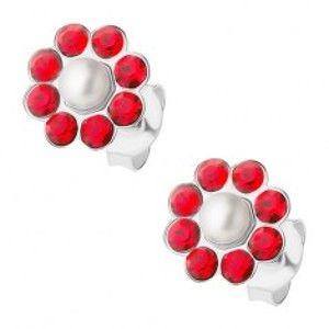 Šperky eshop - Strieborné náušnice 925, červený kvietok s bielou perličkou v strede I34.08