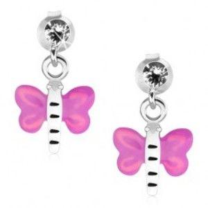 Šperky eshop - Strieborné náušnice 925, číry krištáľ, motýľ s fialovo-ružovými krídlami PC15.19