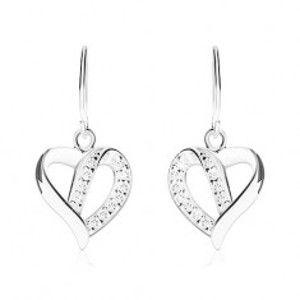 Šperky eshop - Strieborné náušnice 925, kontúra asymetrického srdca zdobená zirkónmi SP88.05