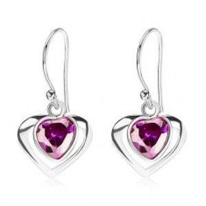 Šperky eshop - Strieborné náušnice 925, kontúra srdca, srdcový zirkón - fialový odtieň, afroháčik I26.07