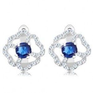 Šperky eshop - Strieborné náušnice 925, kvet - číre zirkónové obrysy lupeňov, modrý stred R37.21