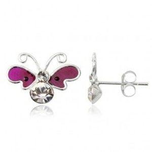 Šperky eshop - Strieborné náušnice 925 motýľ - fialové krídla, zirkónové telíčko T19.14
